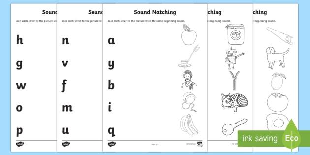 Match the Beginning Sound Worksheets