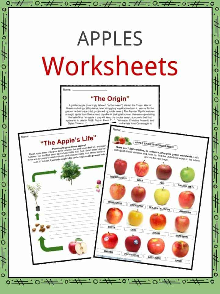 Apple Facts Worksheets Health Benefits Information For Kids