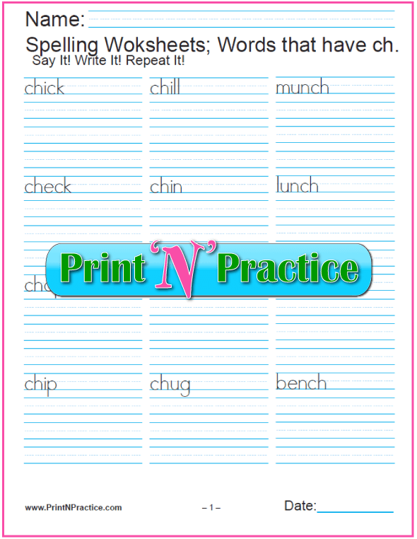 Phonetic spelling with digraphs worksheets for kindergarten