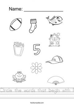 Cursive Words Starting With F Worksheets