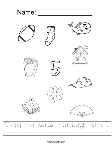 Circle The Words That Begin With F Worksheet