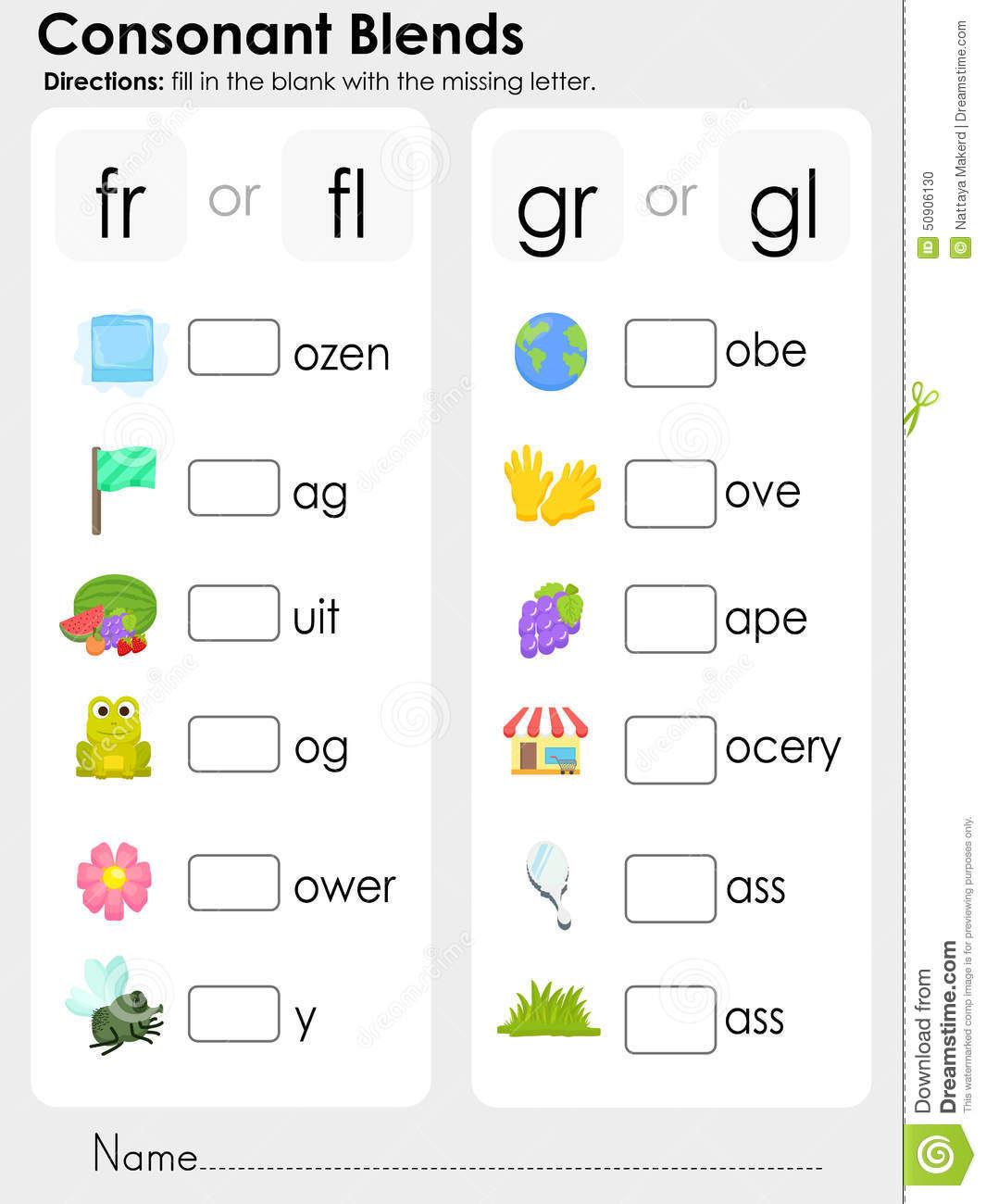 Consonant Blends Missing Letter