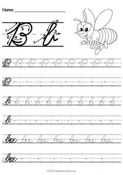 Cursive Words Starting With B Worksheets