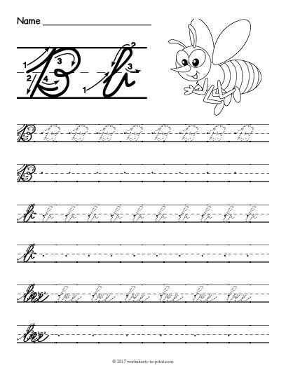 Cursive B Worksheet