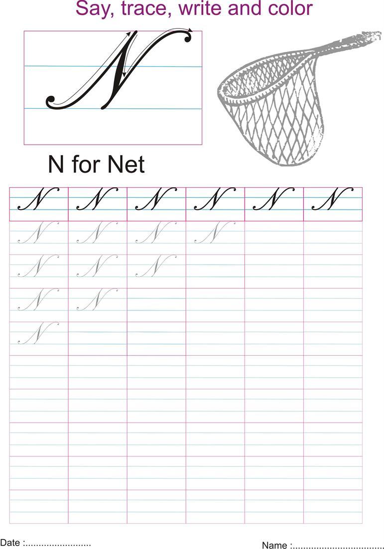 Cursive Captial Letter N Worksheet
