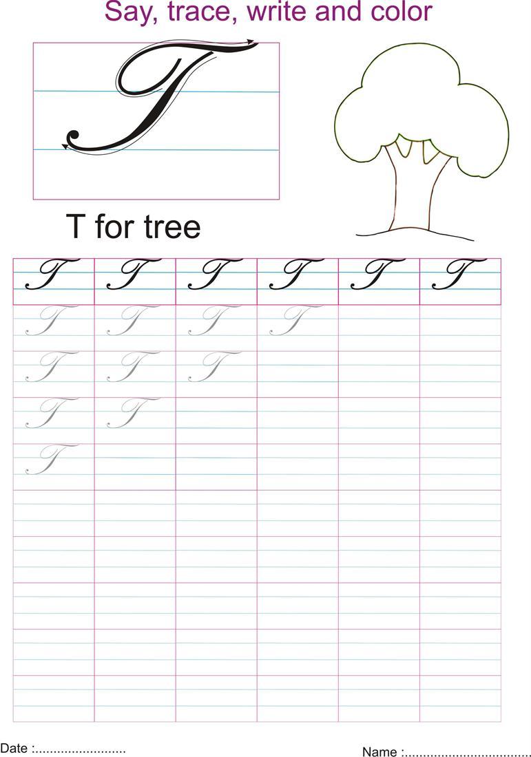 Cursive Captial Letter T Worksheet