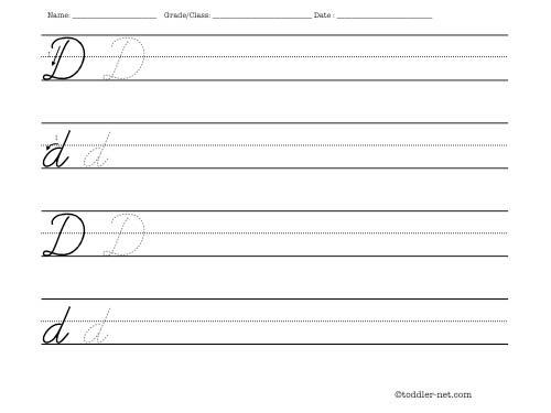 Cursive Letter D Writing Worksheet