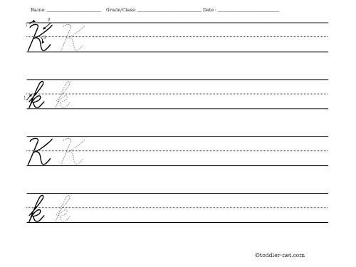 Cursive Letter K Worksheet