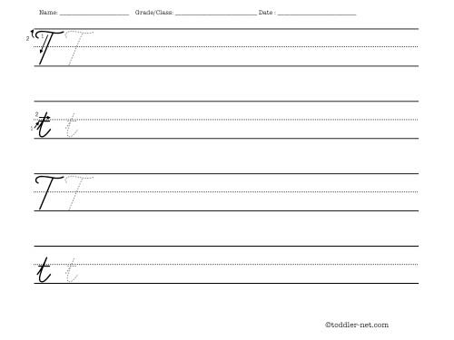 Cursive Letter T Writing Worksheet