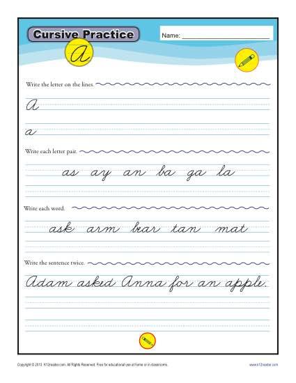 Cursive Letters A