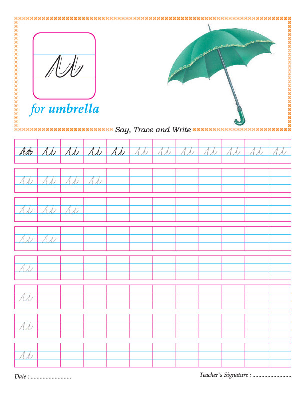 Cursive Small Letter U Practice Worksheet