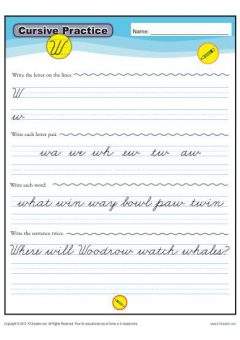 Cursive Words Starting With W Worksheets