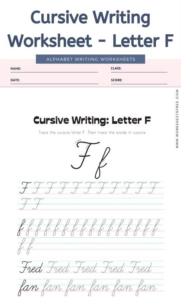 Cursive Writing Worksheet Letter F Alphabet Worksheets