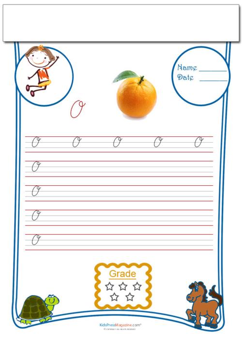 Cursive Writing: Letter O Worksheets