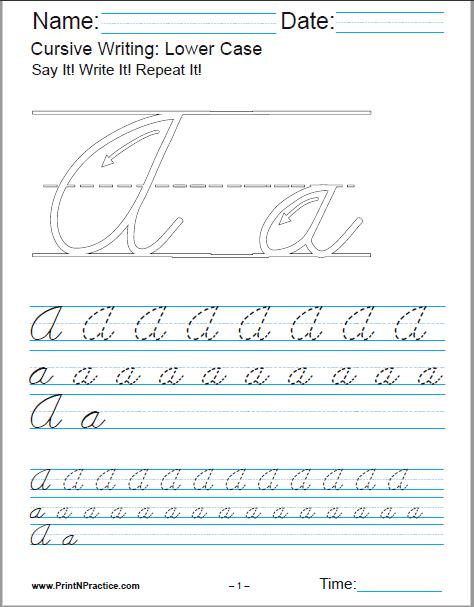 Cursive Writing Worksheets Alphabet Letters Sentences