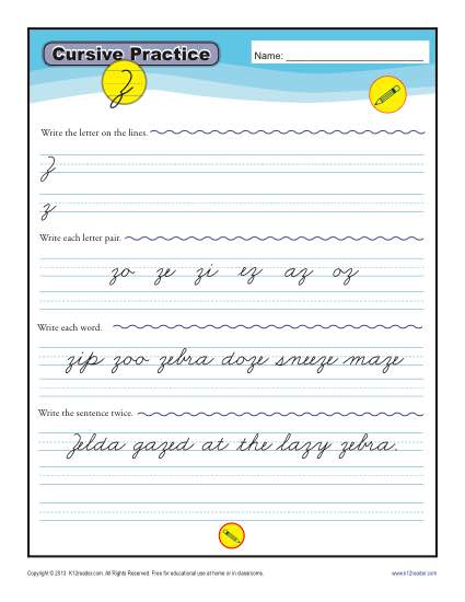 Cursive Writing: Letter Z Worksheets