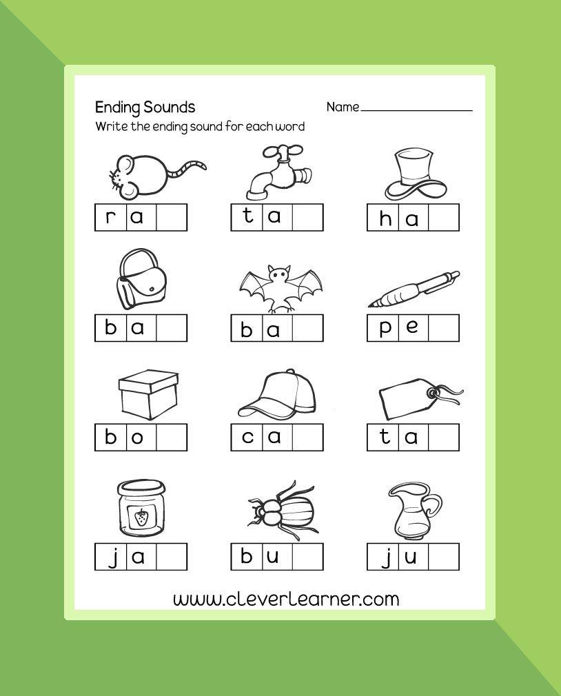Ending Sounds Preschool Worksheet Preschool Worksheet Endsounds