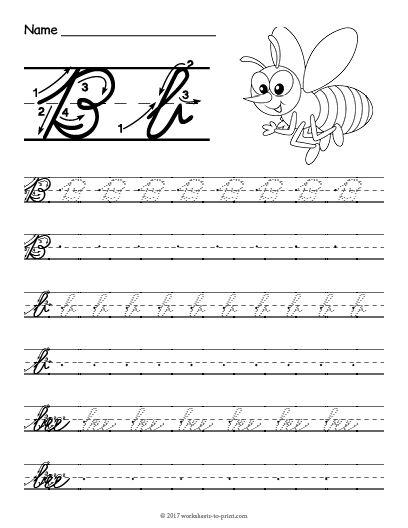 Free Printable Cursive B Worksheet