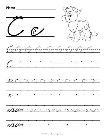 Free Printable Cursive C Worksheet