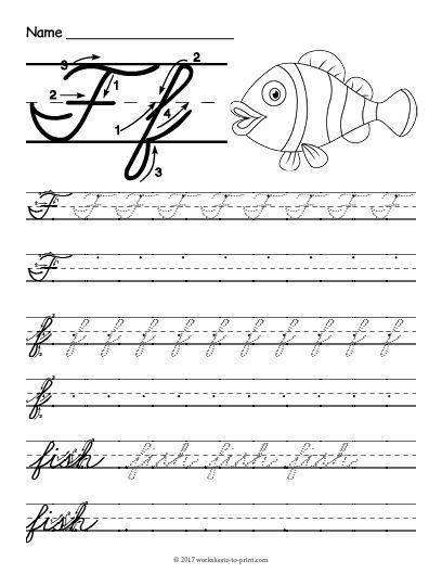 Free Printable Cursive F Worksheet