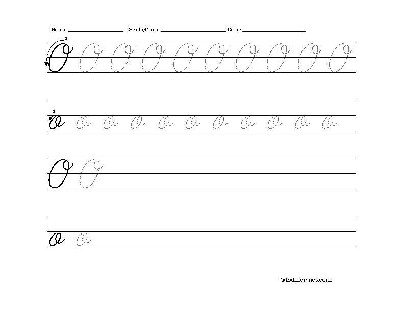 Free Printable Cursive Letter O Worksheet