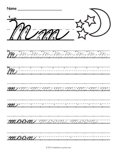 Free Printable Cursive M Worksheet