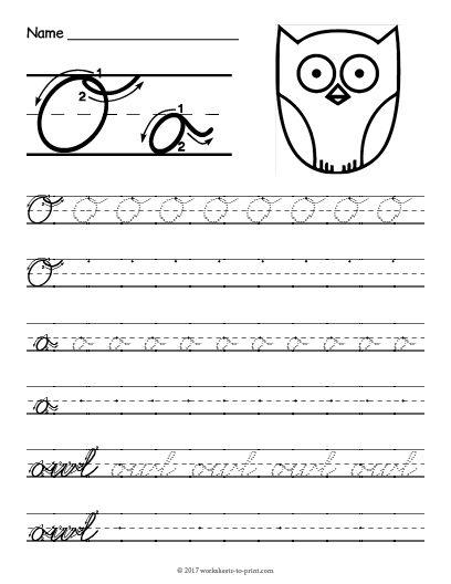 Free Printable Cursive O Worksheet