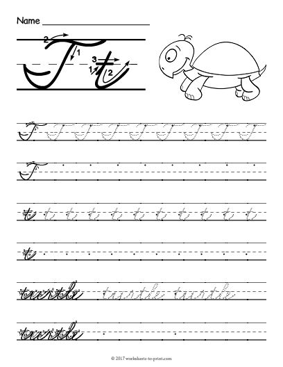 Free Printable Cursive T Worksheet