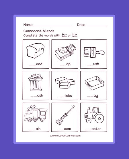 Free Worksheets On Preschool Consonant Blend Sounds With Letter R
