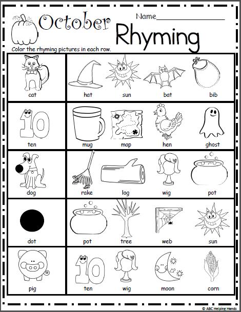 Halloween Rhyming Worksheet