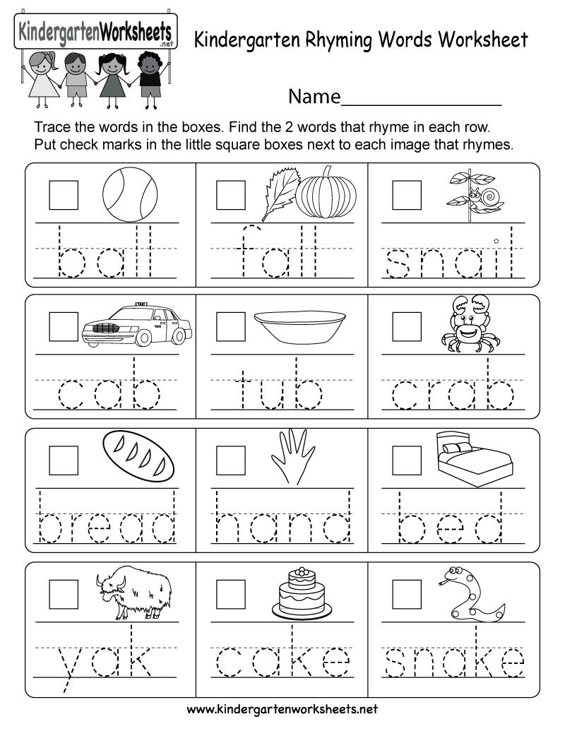 Kindergarten Rhyming Words Worksheet