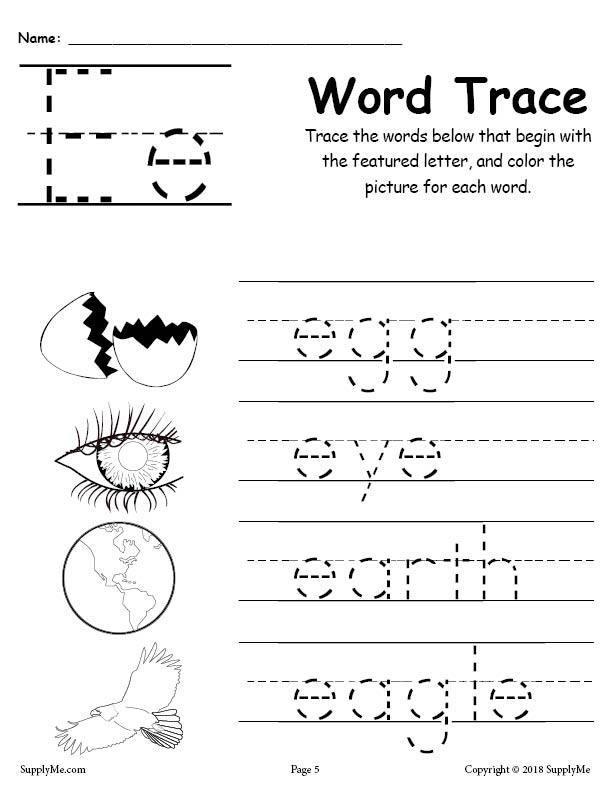 Letter E Words