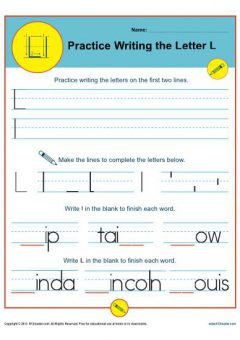 Cursive Words Starting With L Worksheets