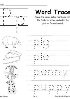 Cursive Words Starting With P Worksheets