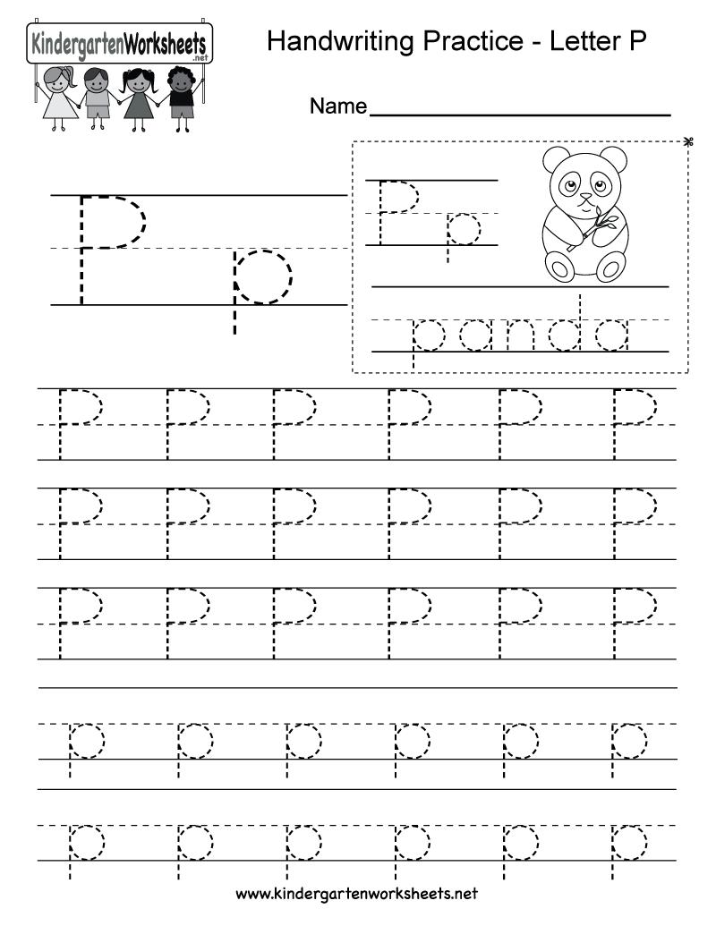 Letter P Writing Practice Worksheet