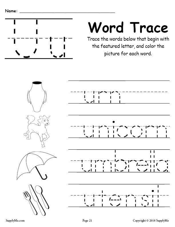 Cursive Words Starting With U Worksheets