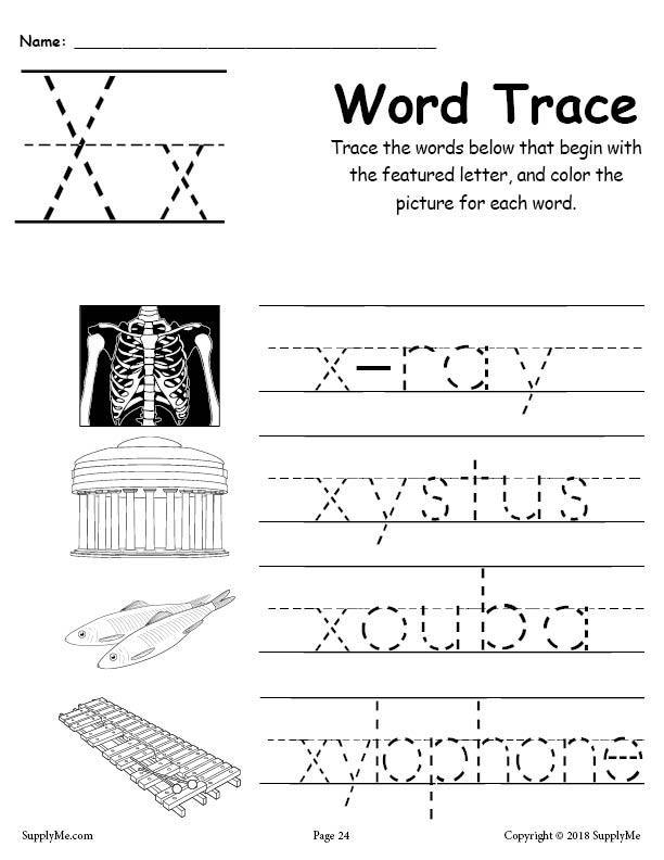 Cursive Words Starting With X Worksheets