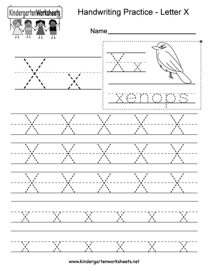 Letter X Writing Practice Worksheet