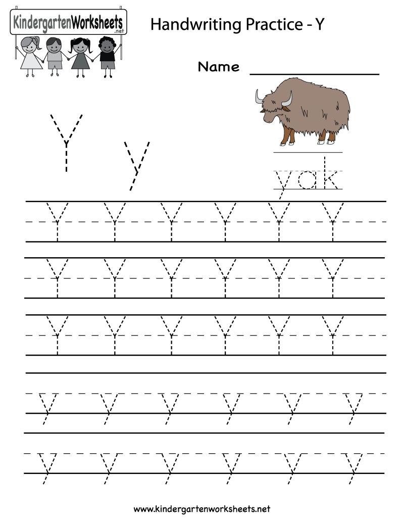 Letter Y Writing Practice Worksheet