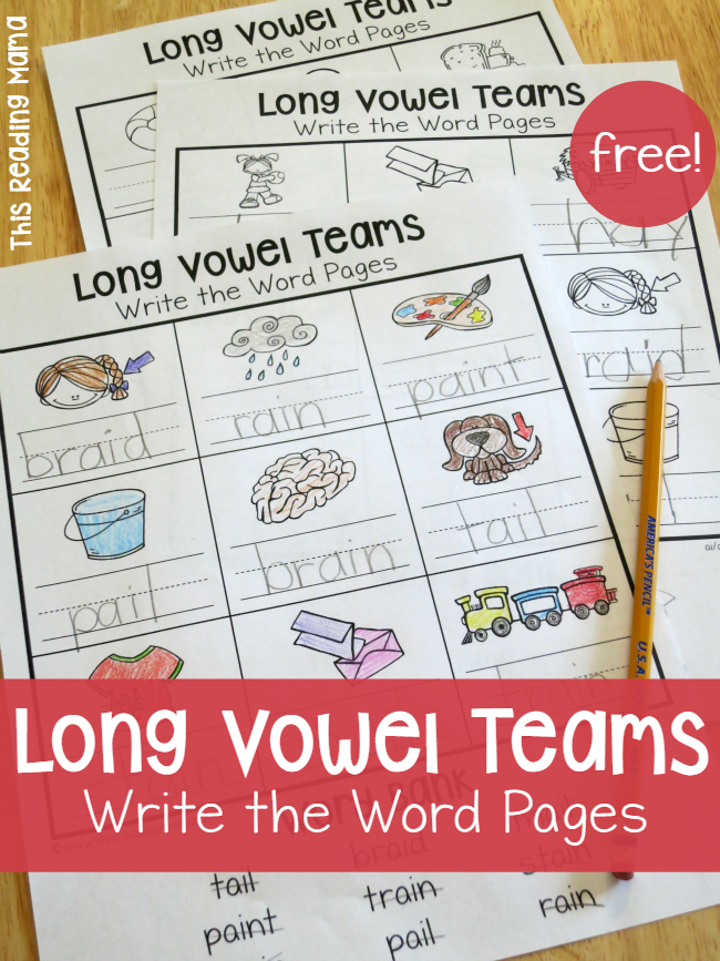 Long Vowel Teams Worksheets Write The Word Pages