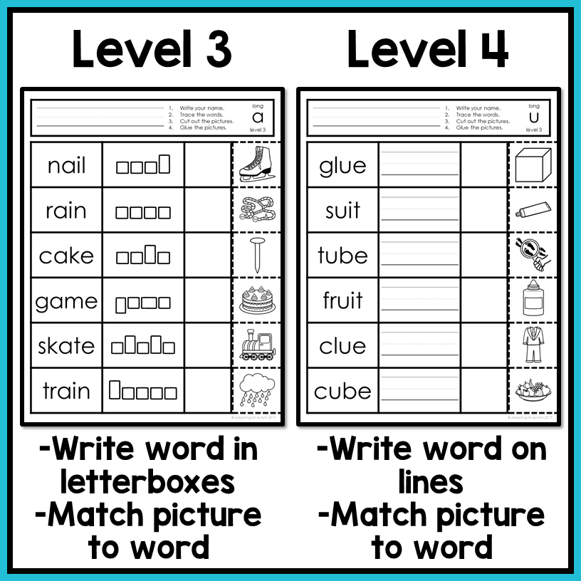 Long Vowel Worksheets Write Cut And Paste Activities Autism