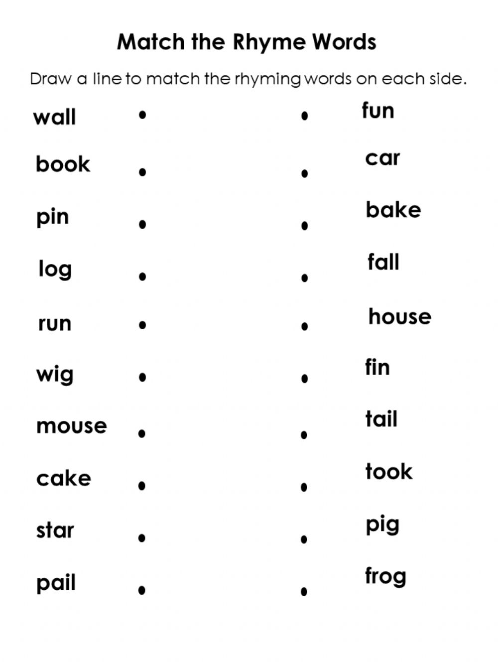 Match The Rhyme Words Worksheet