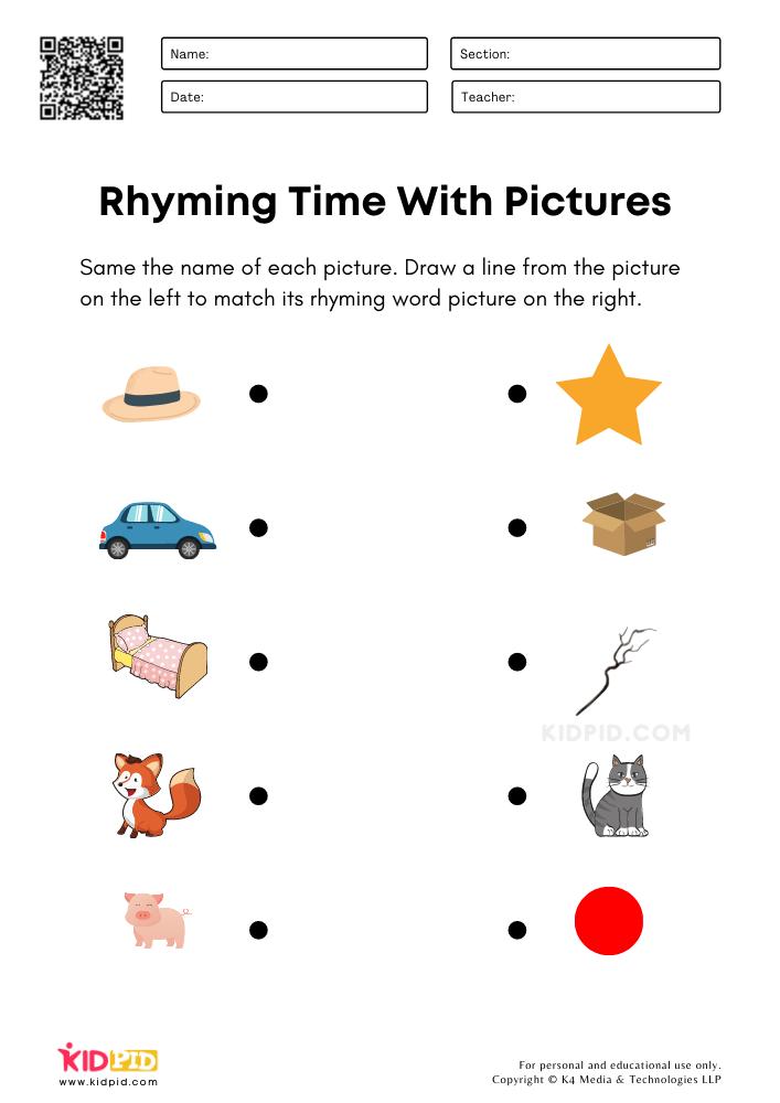 Matching Rhyming Words Worksheets For Kindergarten