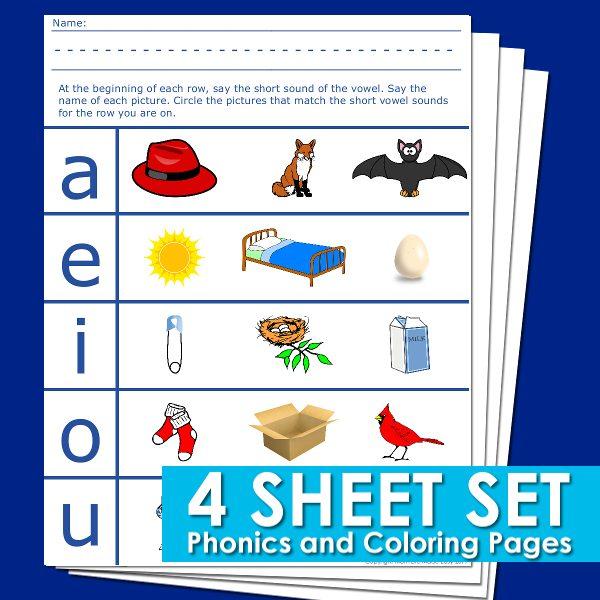 Beginning Vowel Worksheets for Preschool and Kindergarten