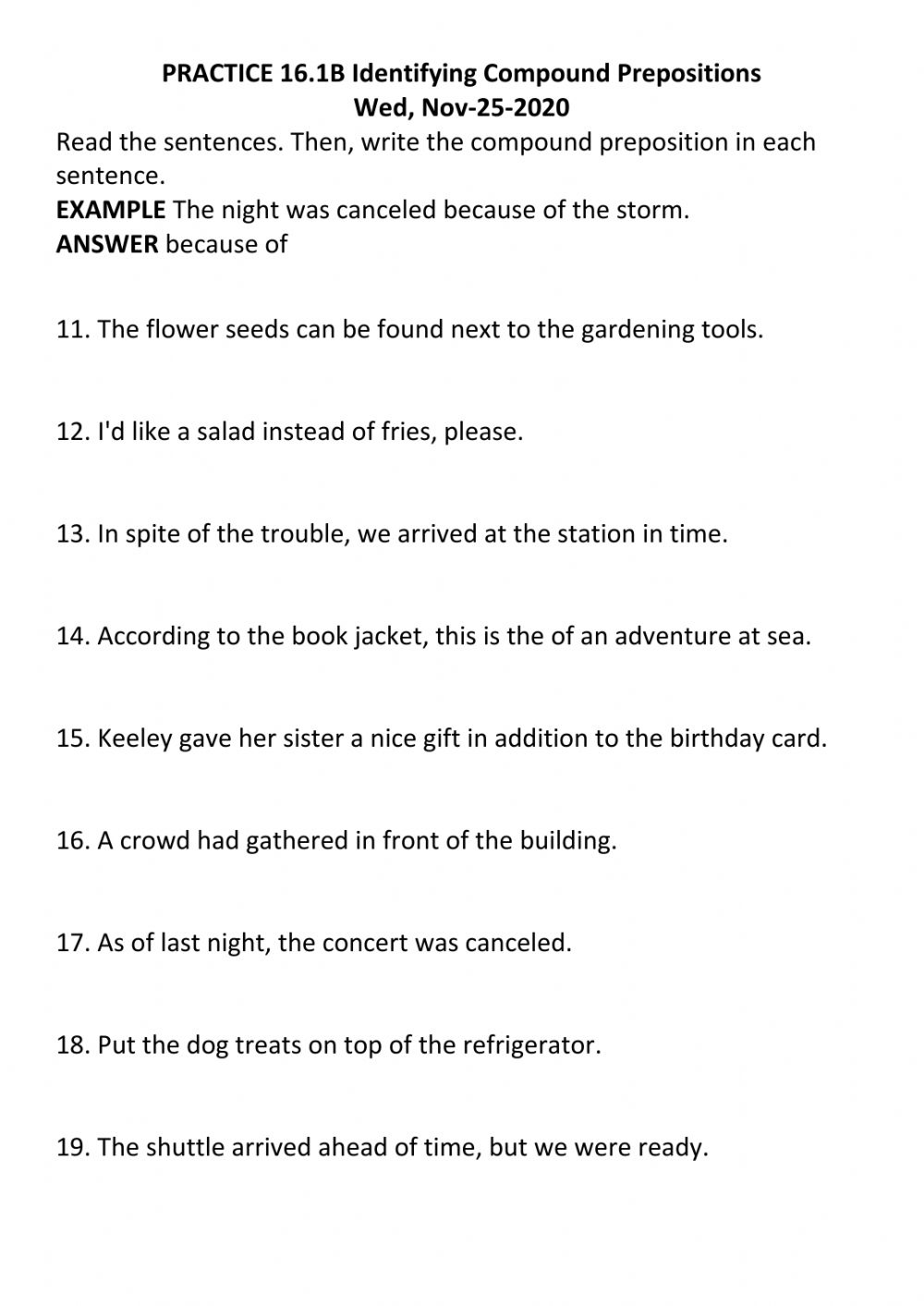 Practice B Identifying Compound Prepositions Worksheet