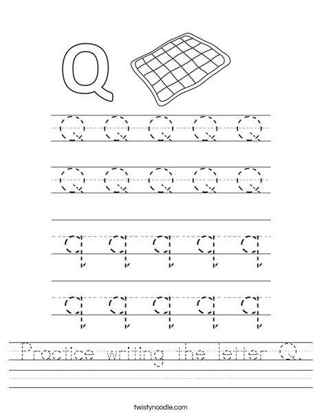 Practice Writing The Letter Q Worksheet