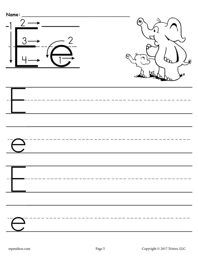 Printable Letter E Handwriting Worksheet Supplyme
