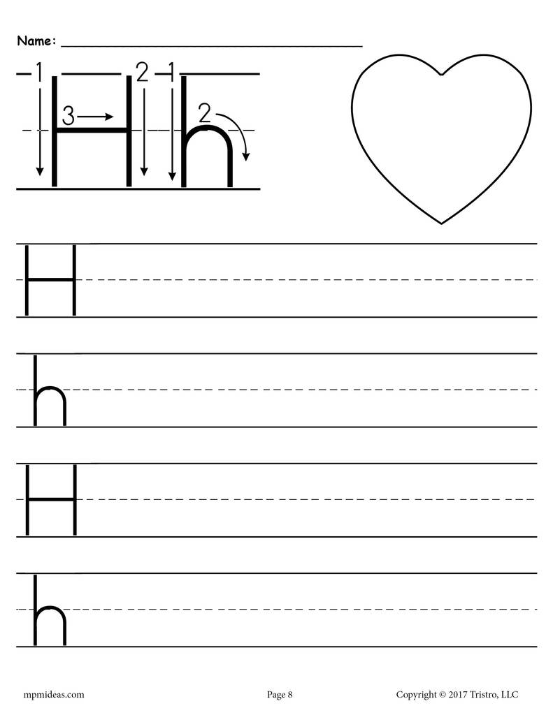 Printable Letter H Handwriting Worksheet Supplyme