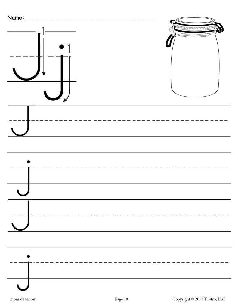 Printable Letter J Handwriting Worksheet Supplyme