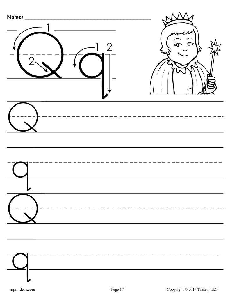Printable Letter Q Handwriting Worksheet Supplyme